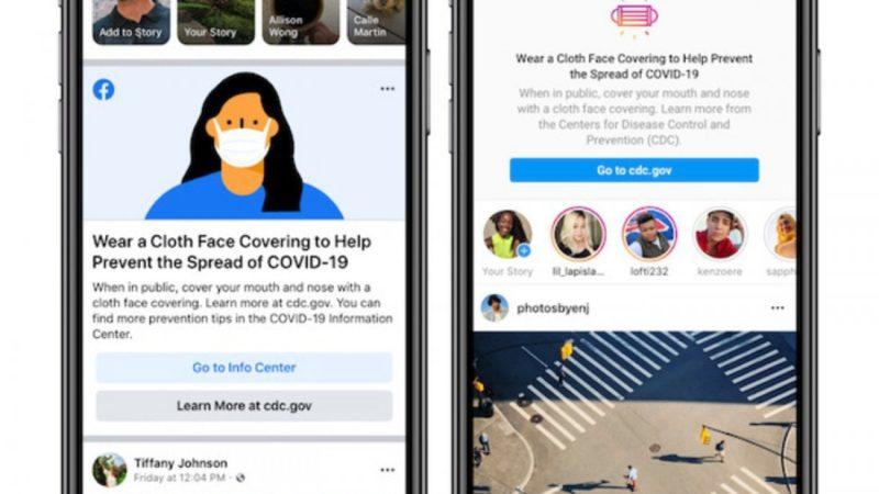 Facebook e Instagram ricorderanno di indossare la mascherina